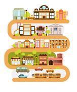 City Infrastructure And All The Urban Buildings Lined With The Curved Orange Stock Illustration