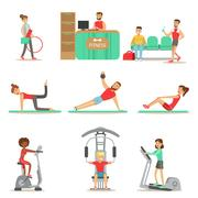 People Member Of The Fitness Class Working Out, Exercising With And Without Stock Illustration