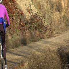 Cyclists on dirt trail, medium shot through frame Stock Footage