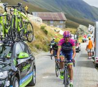 Col de la Croix de Fer, France - 25 July 2015:The Cyclist Rafael Valls Ferri Stock Photos
