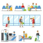 People In The Airport Interior, Passing Security Procedures, Waiting For The Stock Illustration