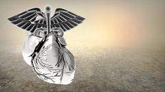 Caduceus Symbol inside Human Heart on a white background. 3d Rendering Stock Illustration