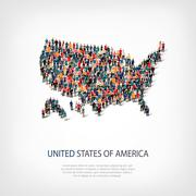 People map country America USA vector Stock Illustration