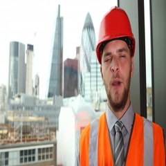 Engineer Man Looking Camera Talking Presentation Report London City Center Day Stock Footage