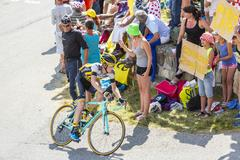 Col du Glandon, France - July 23, 2015:  The Cyclist Steven Kruijswijk Stock Photos