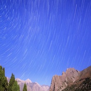 Night in the mountains. Traces of stars similar to metory. TimeLapse. Pamir, Stock Footage