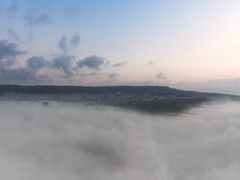 Varna, Bulgaria. Sunrise sky. Flying above the clouds, aerial view. Stock Footage