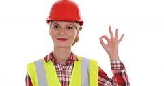 Happy Engineer Woman Looking Camera Posing Smiling Positive Ok Sign Hand Gesture Stock Footage