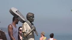 Rio de Janeiro - Statue of Tom Jobim at Ipanema beach Stock Footage