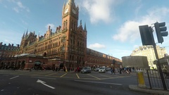 Drive by St Pancras railway station London Harry Potter station Kings Cross Stock Footage