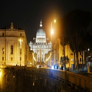 St. Peter's Basilica. View from the Tiber. Night. Rome, Italy. Stock Footage