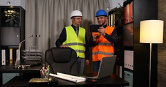 Happy Engineer Men Group Teamwork Collaboration Confident Analyzing Contribution Stock Footage