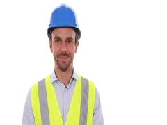 Happy Successful Worker Man Looking Camera Presentation Positive Ok Sign Gesture Stock Footage