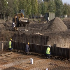 Construction work on the basis of factory Stock Footage