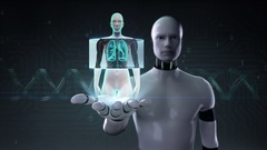 Robot cyborg open palm, Scanning body. Rotating Human Female lungs. Stock Footage