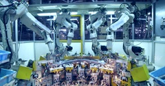Robots are welding car in automobile factory Stock Footage