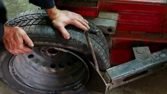 Assembly and disassembly of auto tires Stock Footage