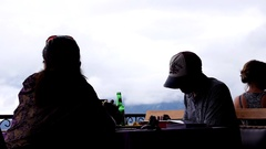 Tourist at the Mount Batur Restaurant Stock Footage