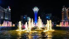 Baiterek - The central Landmark of the new Astana, in the light of night lights Stock Footage