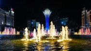 Baiterek - The central Landmark of the new Astana, in the light of night lights Stock Footage