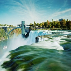 Extraordinarily beautiful Niagara Falls. Clear autumn day. In the picture, two Stock Footage