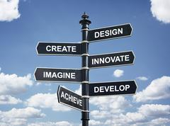 Design, create, innovate, imagine, develop and achieve direction sign Stock Photos