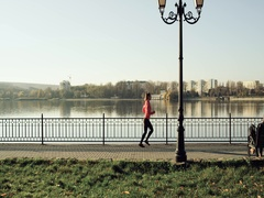 Athletic woman working out at sunrise in the morning. Stock Footage