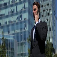Optimistic Confident Businessman Talking Mobile Phone Success Moment Building Stock Footage