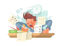 Young student on exam Stock Illustration