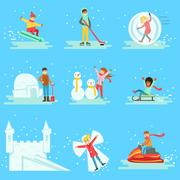 People Having Fun In Snow In Winter Collection Of Illustrations Stock Illustration