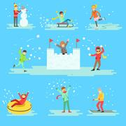 People Having Fun In Snow In Winter Set Of Illustrations Piirros