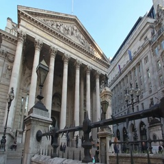 The Bank of England and the Royal Exchange Stock Footage