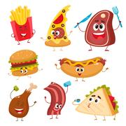 Set of funny cartoon fast food characters Stock Illustration