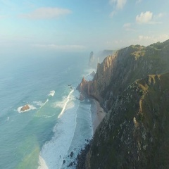 Epic Cliffs and Ocean Waves View Stock Footage