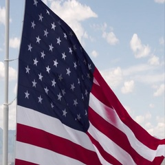 View of American Flag shot from drone Stock Footage