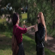 Two frends girls having fun outside Stock Footage