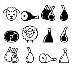 Lamb meat, leg of lamb, lamb shanks and ribs icons set Stock Illustration