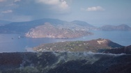 Volcano sicily vulcano sulphure fumes active italy mountain island Stock Footage