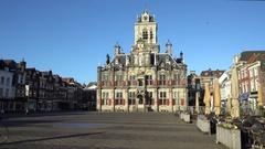 Delft City Hall - Netherlands Renaissance Style, Built 1618 in 4K Stock Footage