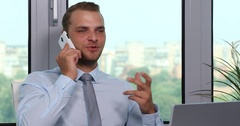 Confident Real Estate Manager Man Talking Mobile Phone Checking Team Office Day Stock Footage