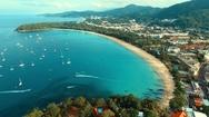 Aerial: Many boats near the beach. Stock Footage