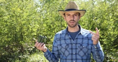 Serious Peasant Man Hold Cucumber Inspecting Quality Check Farmer Talking Camera Stock Footage