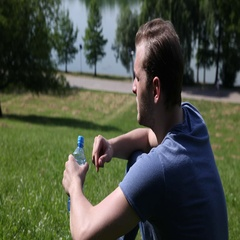 Young Attractive Thirsty Man Drinking Water Hot Summer Day Park Lake Area Relax Stock Footage