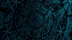 Rotating wheel with dark blue lights pattern Stock Footage