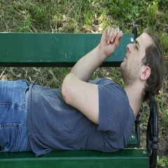 Single Man Sitting Bench Park Smoking Cigarette Recreation Zone Narcotic Addict Stock Footage