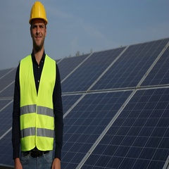 Optimistic Worker Man Show Ok Sign Posing Camera Optimistic Alternative Energy Stock Footage