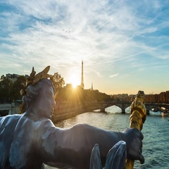 Great sunset view over the Seine river in Paris, France Stock Footage