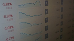 Stock market Forex currency prices on computer screen Arkistovideo