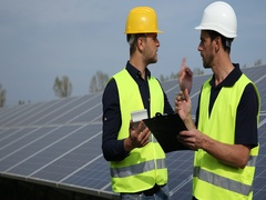 Busy Engineers Men Take Notes Calculate Report Job Activity Looking Solar Panels Stock Footage