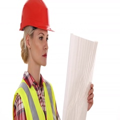 Handsome Engineer Woman Examining Draft Plans Analyzing Scheme Project Design Stock Footage